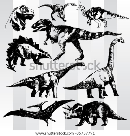 Set of Dinosaurs Hand Drawn - stock vector