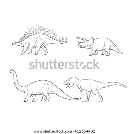 Set of Dinosaurs Illustration isolated on white background. Vector illustration - stock vector