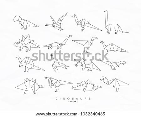 Set Of Dinosaurs In Flat Origami Style Tyrannosaurus Pterodactyl Barosaurus Stegosaurus Deinonychus