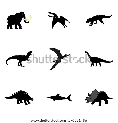 Set of dinosaurus vector black silhouette isolated on white background. - stock vector