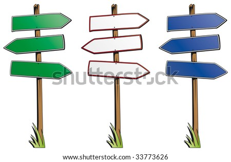 Set of direction signs isolated on white background - stock vector