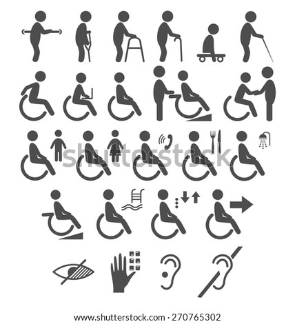 Set of disability people pictograms flat icons isolated on white background - stock vector
