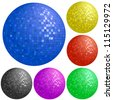 Set of disco balls with different colors on white background, vector illustration - stock photo