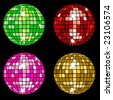 Set of 4 disco balls with square mosaic tiles - stock photo
