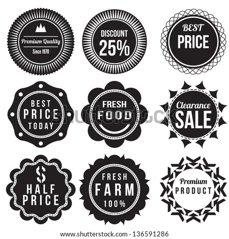 Set of discount and sale price labels, retro vintage styled design badge - stock vector