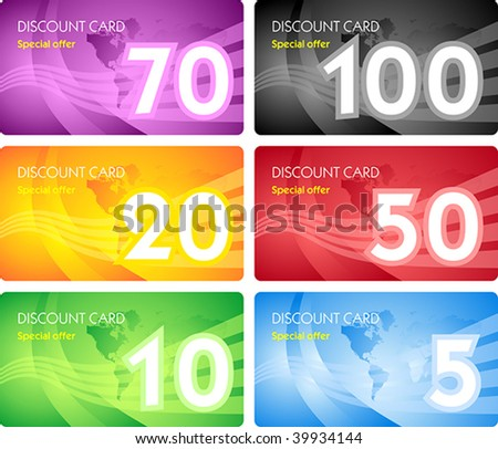 Set of discount card templates - stock vector
