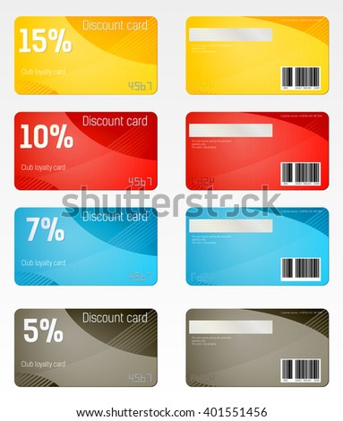 Set of discount cards of various denominations / Club cards of different percentage discounts
