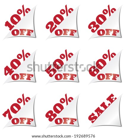 set of discount labels or stickers as corners - stock vector