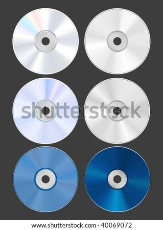 Set of discs. CD DVD Blu-ray. Both sides. Vector Illustration - stock vector