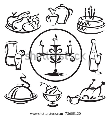 set of dishes - stock vector