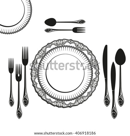 set of dishes, such as plates, forks, spoons and knives  - stock vector