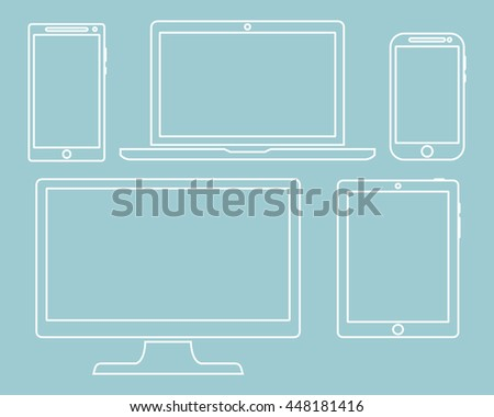 Set of display, laptop, tablet and mobile phones electronic device outline icons template isolated on a green background. Vector illustration - stock vector