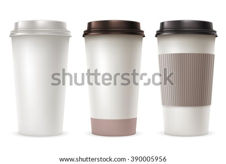 Set of Disposable Paper Cups with Plastic Covers and Sleeve to Take-out. Realistic Vector Illustration. Isolated on White Background. - stock vector