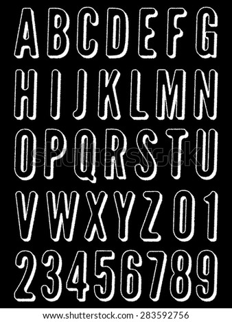 set of distressed white alphabet icon silhouettes, isolated on black