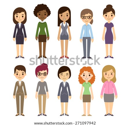 Set of diverse businesswomen isolated on white background. Different nationalities and dress styles. Cute and simple flat cartoon style. - stock vector