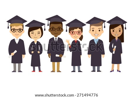 Set of diverse college or university graduation students isolated on white background. Different nationalities and dress styles. Cute and simple flat cartoon style. - stock vector