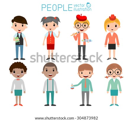 Set of diverse college or university students isolated on white background. Set of full body diverse  university students . Different nationalities and dress styles. people character cartoon concept.  - stock vector