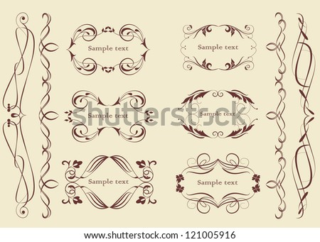Set of dividers, corners and scrolls in vintage style