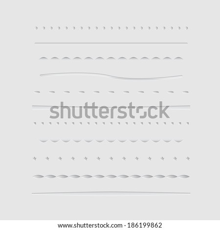 Set of dividers, isolated on gray background. Vector illustration - stock vector
