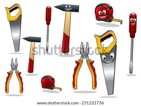 Set of DIY cartoon tools with a drill, tape, pliers, hammer, saw and screwdriver with smiling faces, vector illustration isolated on white - stock vector