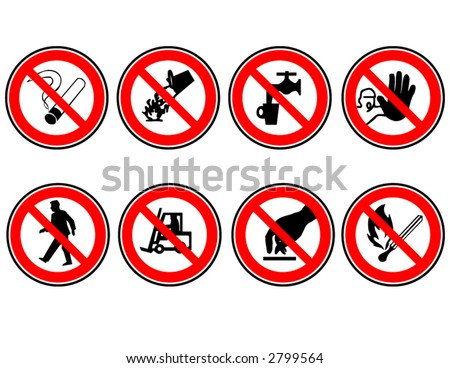 Set of do not do signs in vector format. Sizable to any size without losing quality. - stock vector