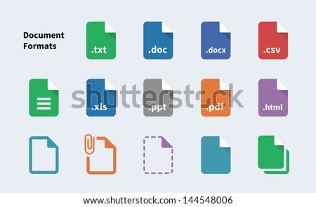 Set of Document File Formats and Labels icons. Vector illustration. - stock vector