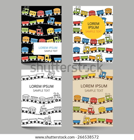 Set of document templates with trains, wagons and rails - stock vector