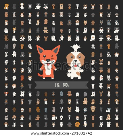 Set of dog character , eps10 vector format - stock vector