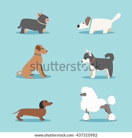 Set of dogs. Cartoon vector illustration. Vet clinic. Flat style.  - stock vector