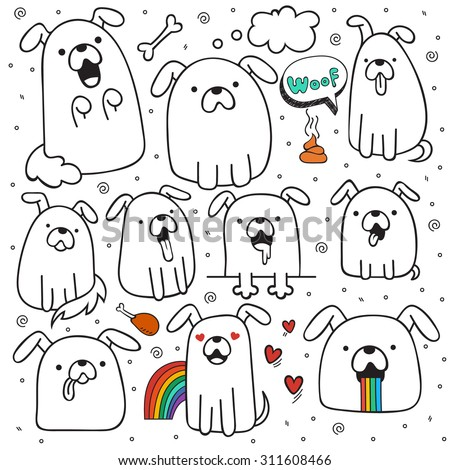 Set of 10 dogs doodle handmade. Dogs with emotions. Painted dog. Sketch dog. Accessories for dogs. Design elements with animals. Dogs for design - stock vector
