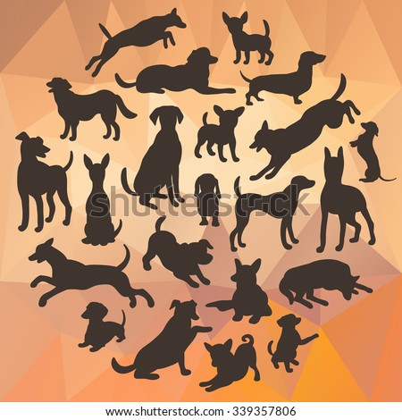 Set of dogs silhouette on abstract polygonal background. Collection of vector silhouette in circle. Beautiful vector design. - stock vector