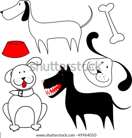 Set of dogs stylized, vector - stock vector