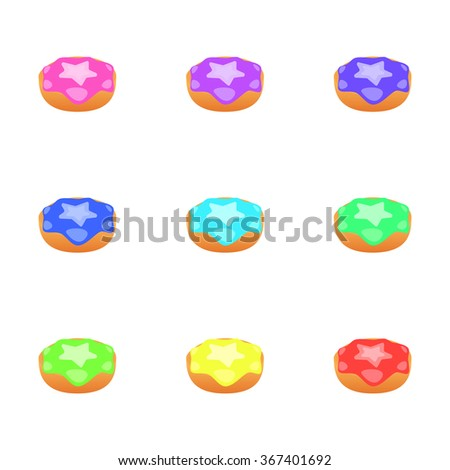 Set of donuts isolated on white background. Colorful Donuts.Vector illustration.
