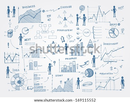Set of doodle business management infographics elements isolated vector illustration - stock vector