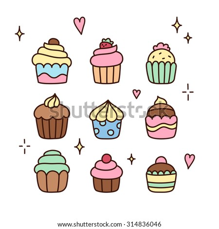 Set of doodle cartoon cupcakes. Cute hand drawn sketch.