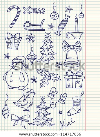 Set of doodle Christmas elements - stock vector