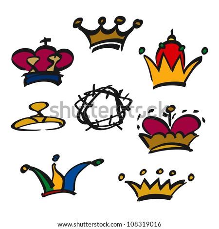set of doodle crowns hats tiaras vector illustration - stock vector