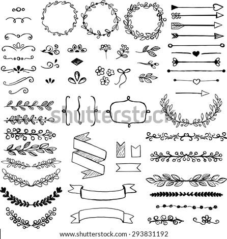 Set of doodle design elements. Arrows, wreath, floral elements - stock vector