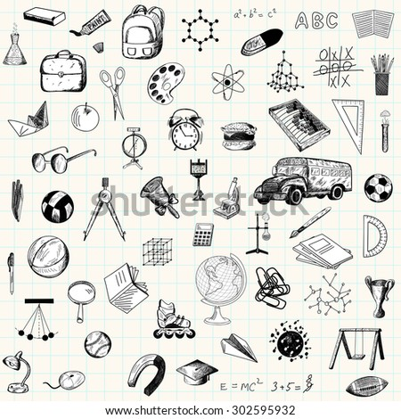 Set of doodle education icons on checkered paper sheet - stock vector