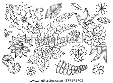 Set of doodle floral elements for card design or some your craetive ideas - stock vector