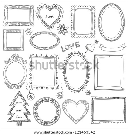 Set of doodle frames and different elements - stock vector