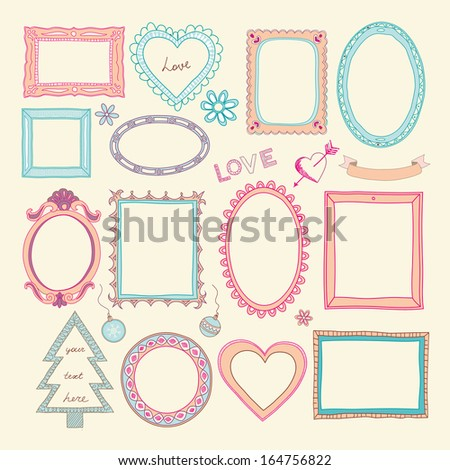 Set of doodle frames and other elements  - stock vector