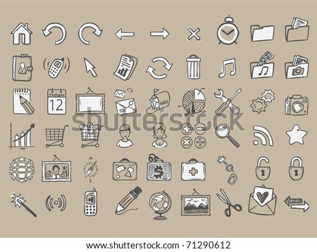 set of 54 doodle icons on craft paper - stock vector