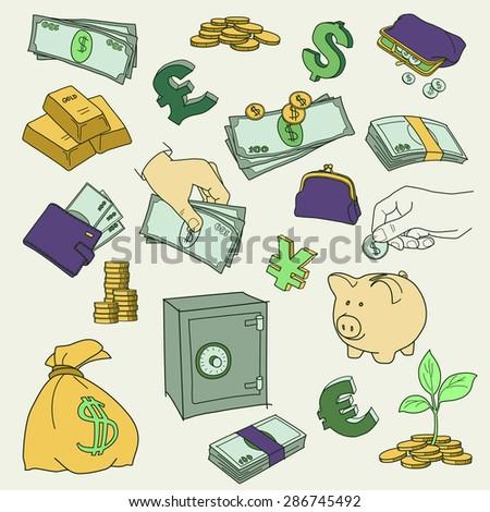 Set of doodle money symbol vector illustration - stock vector