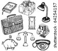 Set of doodle objects - stock photo