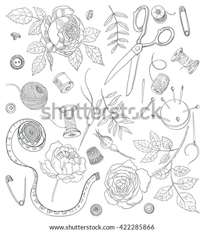 Set of doodle objects for sewing, handicraft. Sewing tools and sewing kit,sewing equipment, needle, sewing pin and beautiful flowers, Vector
