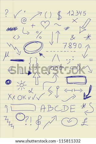 Set of doodle signs - stock vector