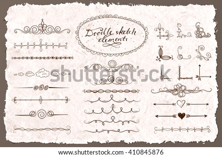 Set of doodle sketch decorative dividers, corners, text frames and borders on vintage background. Vector illustration. - stock vector