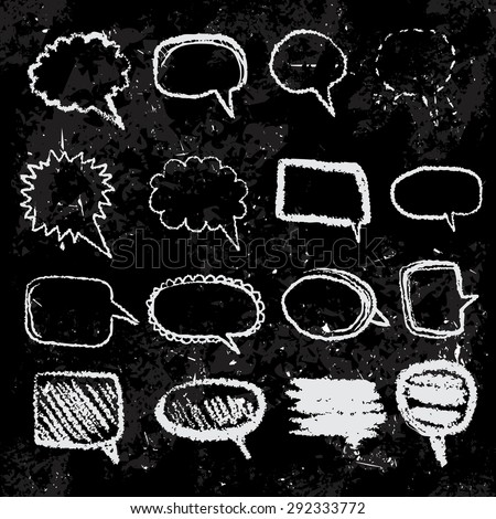 Set of doodle sketch speech bubbles on blackboard hand-drawn on grunge background. Vector illustration. - stock vector