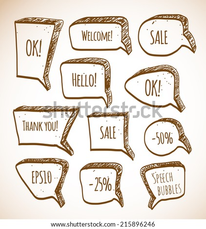 Set of doodle sketch speech bubbles. Vector illustration.  - stock vector
